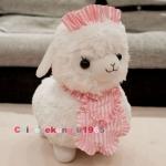 ตุ๊กตาอัลปาก้า Alpaca สีขาว ใส่ผ้ากันเปื้อน ขนาดสูง 16 นิ้ว