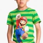 H&M (เด็กโต)----เสื้อยืดริ้วเขียว ลายมาริโอ (Mario) สดใส ผ้านิ่ม ใส่สบายค่ะ size 6, 8, 10, 12