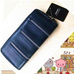 KOTON BRAND ZIP PURSE กระเป๋ารับทรัพย์คนเกิดวันเสาร์ กระเป๋าสตางค์ผู้หญิงสีน้ำเงินกรมท่า มีช่องใส่เหรียญและมือถือ