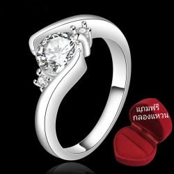 ฟรีกล่องแหวน R905 แแหวนเพชรCZ ตัวเรือนเคลือบเงิน 925 หัวแหวนรูปหัวใจ ขนาดแหวนเบอร์ 7