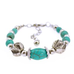Turqouise Silver Bracelet สร้อยข้อมือเงินทิเบตประดับเทอร์คอยส์