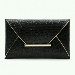 Black Sequin Glittler Clutch Bag กระเป๋าคลัทช์กลิตเตอร์สีดำสุดหรูทรงซองจดหมาย กระเป๋าออกงาน