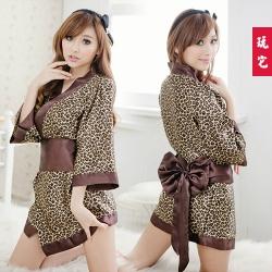 3in1 Sexy Kimono ชุดคอสเพลย์กิโมโนลายเสือดาวสาวญี่ปุ่นสุดเซ็กซี่+โบว์ผูกเอว+จีสตริง