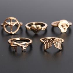 5in1 Punk Style Knuckle Ring แหวนข้อนิ้วสีทองสไตล์พังค์ ชุด 5 วง