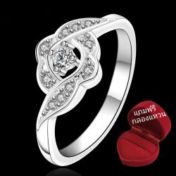ฟรีกล่องแหวน R910 แแหวนเพชรCZ ตัวเรือนเคลือบเงิน 925 หัวแหวนเพชรล้อม ขนาดแหวนเบอร์ 7