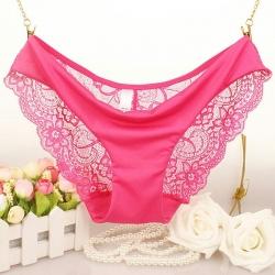 Rose Silk seamless Lace Panties กางเกงในไร้ขอบแต่งลูกไม้โชว์สะโพกสุดหรู ไซส์ M