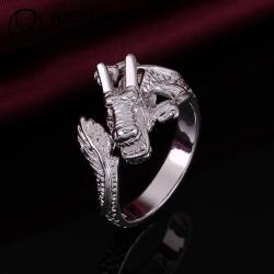 R883 แหวนมังกรปลายเปิด ตัวเรือนเคลือบเงิน 925 ขนาดแหวนเบอร์ 8