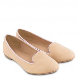 ไซส์ 38 รองเท้าส้นแบนสีเนื้อ Simply Nude PU Loafer Ballet Shoes
