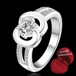 ฟรีกล่องแหวน R890 แหวนเพชรCZ ตัวเรือนเคลือบเงิน 925 หัวแหวนเพชรกลมตัวเรือนรูปอินฟินิตี้ ขนาดแหวนเบอร์ 7-8