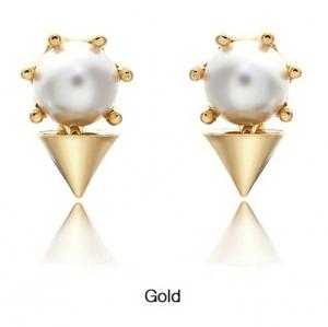 VH Style Gold Crown Pearl Punk Earing ต่างหูมุกมงกุฏสีทอง ใส่ได้ 2 แบบ
