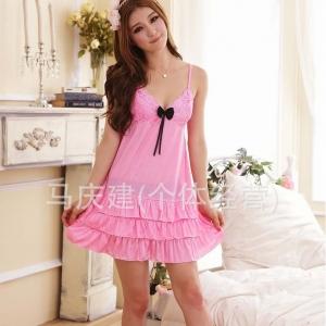 Sexy Princess Dress ชุดนอนเซ็กซี่ผ้ามันลื่นสีแตงโมแต่งลูกไม้อก ชายระบาย สวยหวานน่ารักมาก
