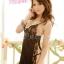 2in1 Sexy Dress ชุดนอนเซ็กซี่ผ้ามันลื่นสีดำแต่งลูกไม้ผ่าข้าง+จีสตริง thumbnail 4