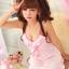 2in1 Sexy Pink Dress Babydoll ชุดนอนเซ็กซี่ผ้ามันลื่นสีชมพูแต่งระบายที่อก ระบายชาย พร้อมจีสตริง thumbnail 6