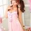 2in1 Sexy Pink Dress Babydoll ชุดนอนเซ็กซี่ผ้ามันลื่นสีชมพูแต่งระบายที่อก ระบายชาย พร้อมจีสตริง thumbnail 4