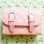 กระเป๋าสะพายข้าง สีชมพู เย็บเดินลายทั้งใบ ทรงกล่องสีเหลี่ยม thumbnail 1