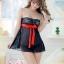 2in1 Sexy Dress ชุดนอนเซ็กซี่ซีทรูผ้าลูกไม้สีดำเกาะอกแต่งโบว์แดง+จีสตริง thumbnail 5