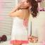 2in1 Sexy Princess Dress ชุดนอนเซ็กซี่ผ้ามันลื่นสีขาวแต่งลูกไม้อก พร้อมจีสตริง thumbnail 3