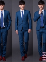 ชุดสูทเจ้าบ่าว,สูทผู้ชาย สีน้ำเงิน พร้อมส่ง XL