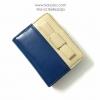 กระเป๋าสตางค์ใบสั้น ลายโบว์น่ารัก สีน้ำเงิน-ครีม (สินค้าลดราคา ตรงซิปมีรอยถลอกนิดหน่อยค่ะ)