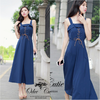 Autumn elegant temperament maxi dress   สีน้ำเงิน