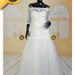ชุดแต่งงาน ไหล่ปาด แขนยาวถึงศอก ปักคริสตัลและลูกไม้ พร้อมส่ง Size M-XL