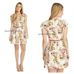 ASOS floral printed V-neck dress with belt