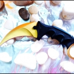 มีดซ้อมควง คารัมบิตโกลเด้นฮอว์กคลอ( Hawk Claw ) Golden Hawk Claw Karambit Trainer Knife