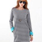 [Preorder] เดรสแฟชั่นแขนยาวลายขวาง สีเทา Slim round neck long-sleeved striped dress