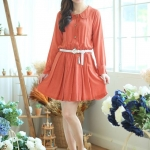 Tiny Dots Cute Minidress สีส้ม