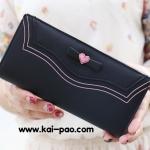 กระเป๋าสตางค์ใบยาว PRETTYZYS สีดำ ลายโบว์หัวใจ ขนาด 2 พับ