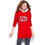 เดรสเสื้อกันหนาวแขนยาว มีฮูด ด้านหน้าสกรีน Studio Alice เสื้อสีแดง +พร้อมส่ง+
