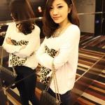 เสื้อผ้าแฟชั่นสไตส์เกาหลี เสื้อแซกแขนยาว สีขาว +พร้อมส่ง+