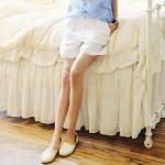 กางเกงขาสั้นแฟชั่นชุดทำงานพร้อมส่ง  กางเกงขาสั้นดีไซต์เก๋สไตส์พร็อพเกาหลี ผ้าฝ้ายบาง สีขาว ใส่สบาย +พร้อมส่ง+