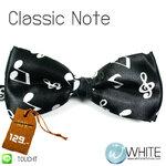 Classic Note - หูกระต่าย สีดำ ลายโน๊ตดนตรี สีขาว (BT113) by WhiteMKT