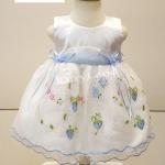 ชุดเดรสเด็กหญิงสีขาวปักลายสีฟ้าสำหรับเด็ก6-24้เดือน