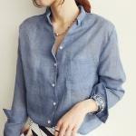 เสื้อเชิ๊ตแฟชั่นชุดทำงานพร้อมส่ง เสื้อเซิ๊ตแขนยาวดีไซต์เก๋สไตส์เกาหลี สีฟ้าคราม ใส่สบาย +พร้อมส่ง+