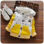 เสื้อกันหนาวหมีน้อย สีเทาเหลือง ผ้านิ่มค่ะ