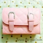 กระเป๋าสะพายข้าง สีชมพู เย็บเดินลายทั้งใบ ทรงกล่องสีเหลี่ยม