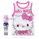 [Preorder] เสื้อกล้ามเด็ก Hello Kitty สีขาวขอบชมพู (6 ตัว/แพ็ค) al12301 gold red vest on a single gold cartoon red Hello kitty printed cotton vest