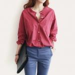 เสื้อเชิ๊ตแฟชั่นชุดทำงานพร้อมส่ง เสื้อเซิ๊ตแขนยาวดีไซต์เก๋สไตส์พร็อพเกาหลี ผ้าไนล่อน สีแดง ใส่สบาย +พร้อมส่ง+