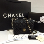 CHANEL Mini 7 inch Lamb Blacku top miror