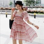 Ladies short-sleeved summer dress stripe print skirt.  สีชมพู