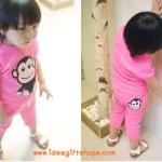 ชุดเด็ก ลายลิง ชุดสีชมพู สไตล์เกาหลี