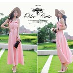 Autumn elegant temperament maxi dress    สีชมพู