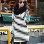[Preorder] เดรสแฟชั่นแขนยาวลายขวาง สีขาว Slim round neck long-sleeved striped dress