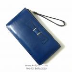 กระเป๋าสตางค์ใบยาว ประดับโบว์ สีน้ำเงิน ซิปบน มีสายคล้องมือ