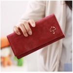 กระเป๋าสตางค์ใบยาว สีไวน์แดง ขนาด 3 พับ ประดับรูปร่ม หนัง PU