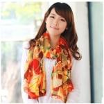 ผ้าพันคอแฟชั่นสไตส์เกาหลีพร้อมส่ง ลายหลากสีโทนสีส้มแดง   ผ้าชีฟอง ผ้านุ่ม ดีไซต์เก๋ไก๋ ใส่แล้วดูดีมีสไตส์ เหมาะเป็นของขวัญ