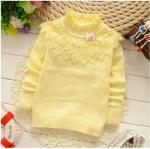 เสื้อกันหนาวไหมพรม สีเหลือง ผ้านิ่ม ผ้าดี น่ารัก สำหรับอายุ 1-4 ปี
