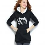 เดรสเสื้อกันหนาวแขนยาว มีฮูด ด้านหน้าสกรีน Studio Alice เสื้อสีดำ +พร้อมส่ง+
